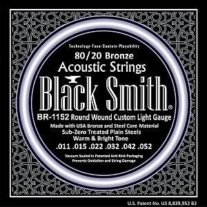 Black Smith Strings BR1152 80/20 Bronze Acoustic Guitar Strings, Custom Light, 011-052, Made in Korea