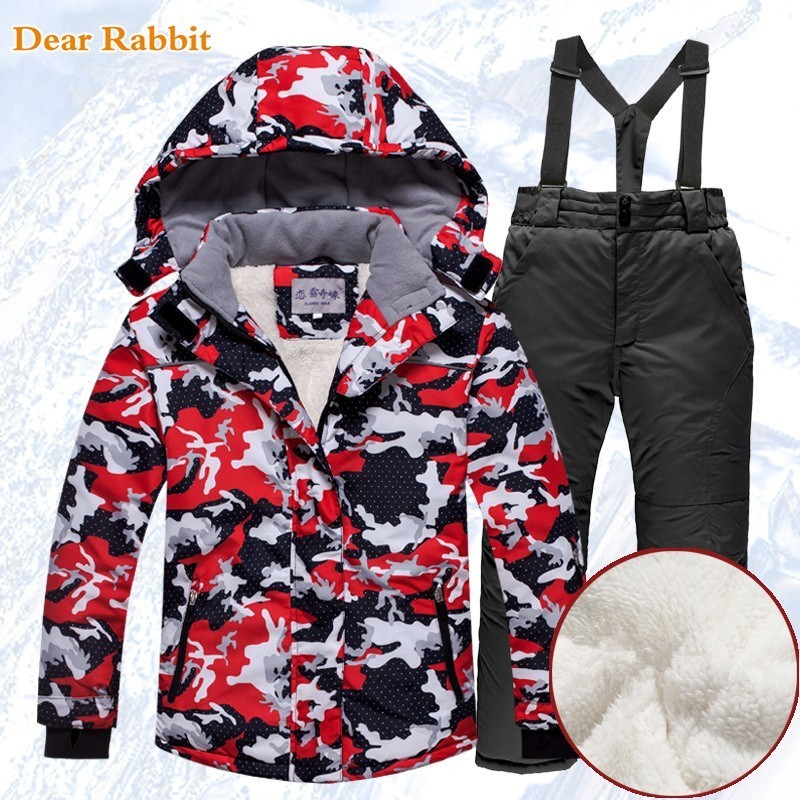 30 degree Children clothing Set ski suit girl kids snowboard Waterproof outdoor thicken jacket pants