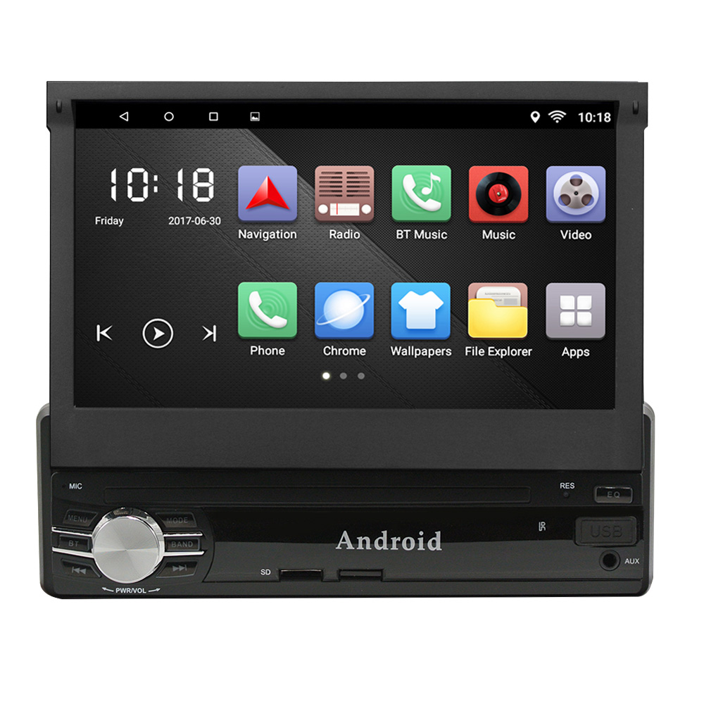 Universal Car MP5 Player 1 Din Android 6.0 7 Inch Retractable Large Touch Screen GPS Navigation Bluetooth FM/AM Radio qiaobao 100