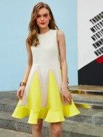2018 Women A Line Dress Sleeveless Plus Size Round Neck Yellow Patchwork Ruffles Lady Elegant Fashion