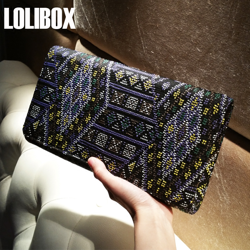 LOLIBOX Women Clutch Bags Embroidery Weaving Exclusive National Wind Fodder Hit Color Women Messenger Bags Envelopes Bafgs