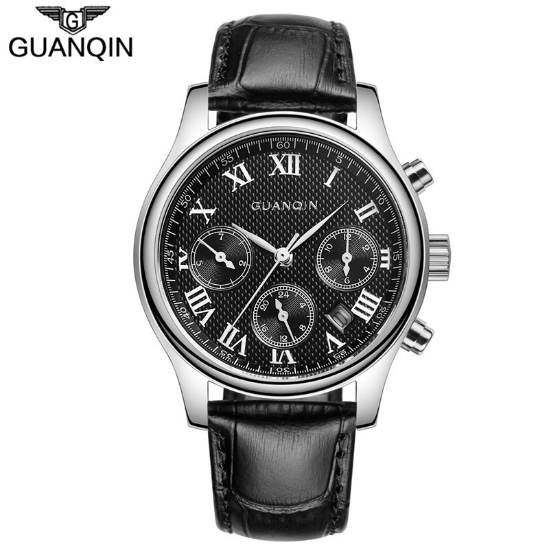 ФОТО GUANQIN Brand Mens Watches Chronograph & 24 Hours Function Men Business Water Resistant Quartz Wristwatches Relogio Masculino