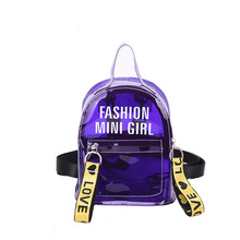 Women Transparent Backpack For Child Mini Small Backpack PVC Clear Jelly Backpack Letter Print Student Shoulder Crossbody Bag
