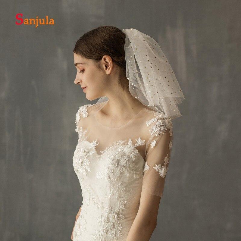 Short Veil Pure White Wedding Veils With Comb Gold Shiny Stars Shoulder Length Two-Layer Wedding Accessories Velos De Novia V126
