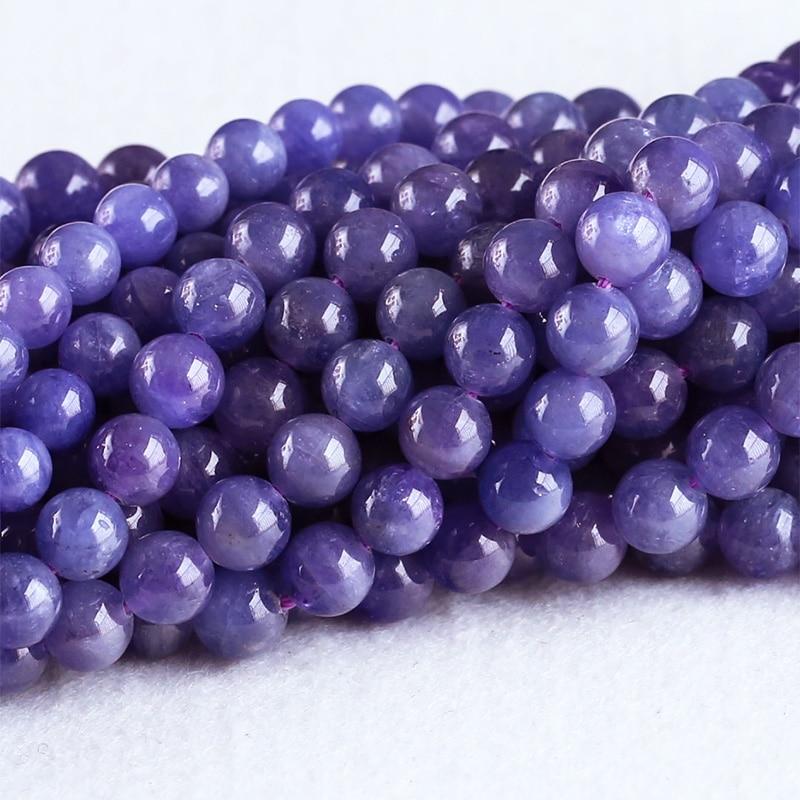 High Quality Natural Genuine Tanzania Tanzanite Dark Purple Blue Gemstone stones Round Loose Beads 7mm 8mm 05306 dark blue loose fit knot pattern front sweatshirt