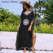 Купальник для беременных женщин, пляжное платье, бикини, накидка, кафтан, летняя длинная свободная пляжная одежда с вышивкой, платья в стиле бохо