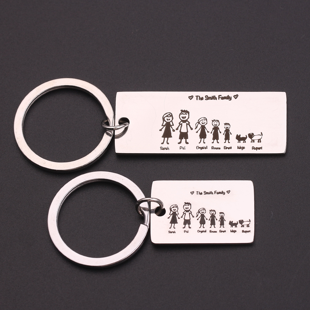 Fashion Family Keychain Engraved The Smith Family Personalized Family Member Name And Pet Name Household Key Ring Holder Tag