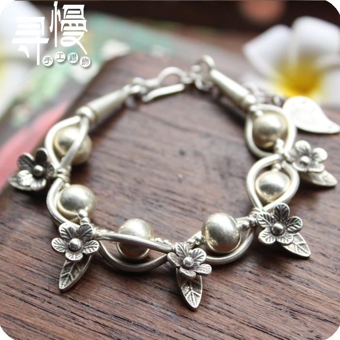 Mosaïque exclusive design original s925 bracelet en argent main manuelle chaîne de caractère féminin