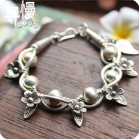 Mosaic bodhi exclusive original design Thai s925 silver bracelet with silver Thai manual hand string of female character