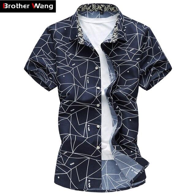 Лето 2017 г. Новый Для мужчин рубашка мода плед печати мужской Повседневное футболка с коротким рукавом большой Размеры бренд Мужская одежда 5xl 6xl 7XL