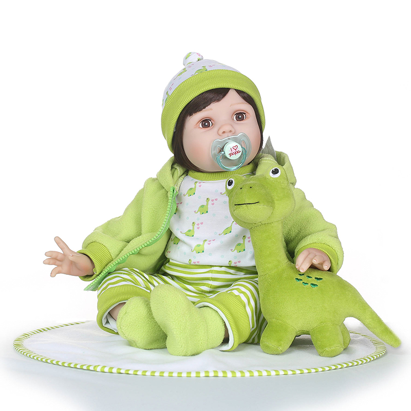 Nicery 23-24inch 58-60cm Bebe Reborn Doll Soft Silicone Boy Girl Toy Reborn Baby Doll Gift for Children Green Dinosaur Clothes