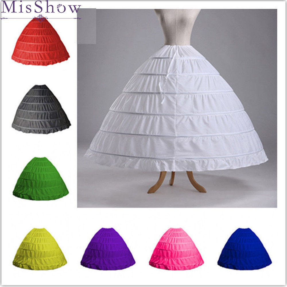 In Stock Cheap White 6 Hoops 2019 Petticoats For Wedding Dress Crinoline Underskirt Ball Gown Wedding Accessories Free Shipping