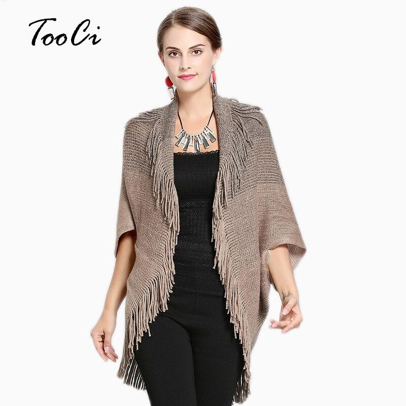 Nouveau automne femmes Poncho Femme Hiver kaki Cardigan châle haute élastique gland tricoté dames chandails Long Cardigan manteau
