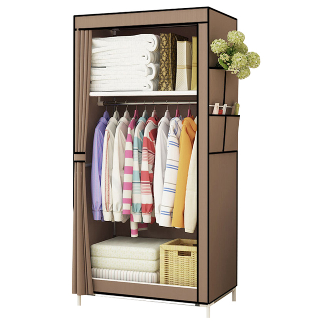 Students Dormitory Small Wardrobe Single Cloth Folding Portable Closet Clothing Storage Cabinet Home Furniture