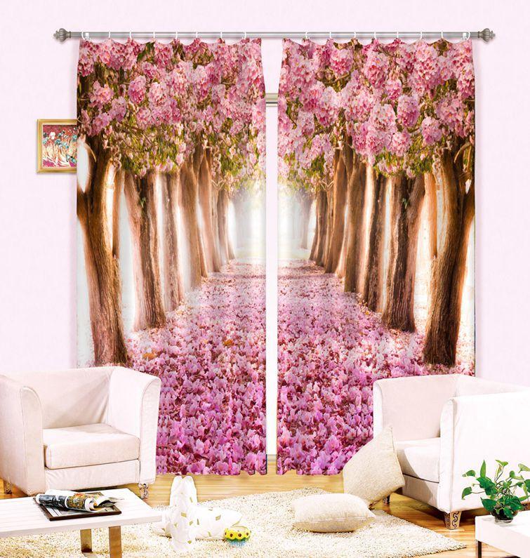 3D 사진 벚꽃 인쇄 정전 창 커튼 거실 침구 룸 호텔 / 사무실 커튼 Cortinas 파라