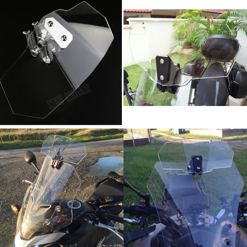 Unversal Airflow Adjustable Windscreen Wind Deflector Motorcycle Windshield For Honda Yamaha Suzuki Kawasaki BMW Ducati KTM universal motorcycle gear shifter shoe case cover protector gear protector for yamaha honda ducati kawasaki bmw ktm 144 150 sx