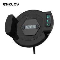 ENKLOV 자동차 블루투스 핸즈프리 키트 자동차 충전기 휴대 전화 스탠드 3 1 다목적 USB FM 송신기 자동차 블루투스