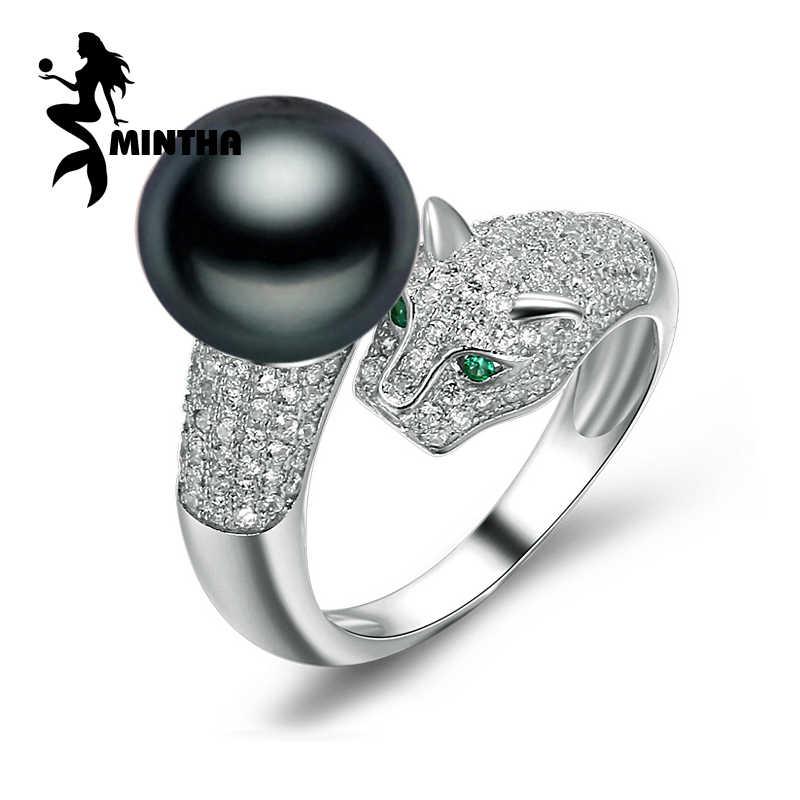 MINTHAเครื่องประดับมุกแหวนมุกธรรมชาติสีดำเพิร์ลออฟเดอะริงผู้หญิง,ปรับน้ำจืดพังก์เสือดาวแหวนสำหรับผู้หญิง