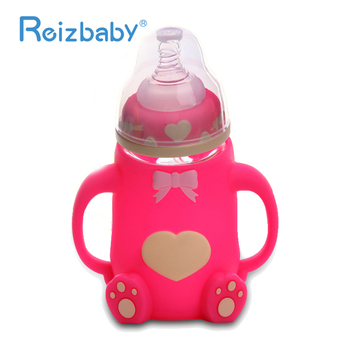 REIZBABY Baby Bottle 240ml Cute Cartoon Arc Type Glass Bottle Nipple Straw with Cover Anti-scald Unbreakable Baby Feeding Bottle glass bottle