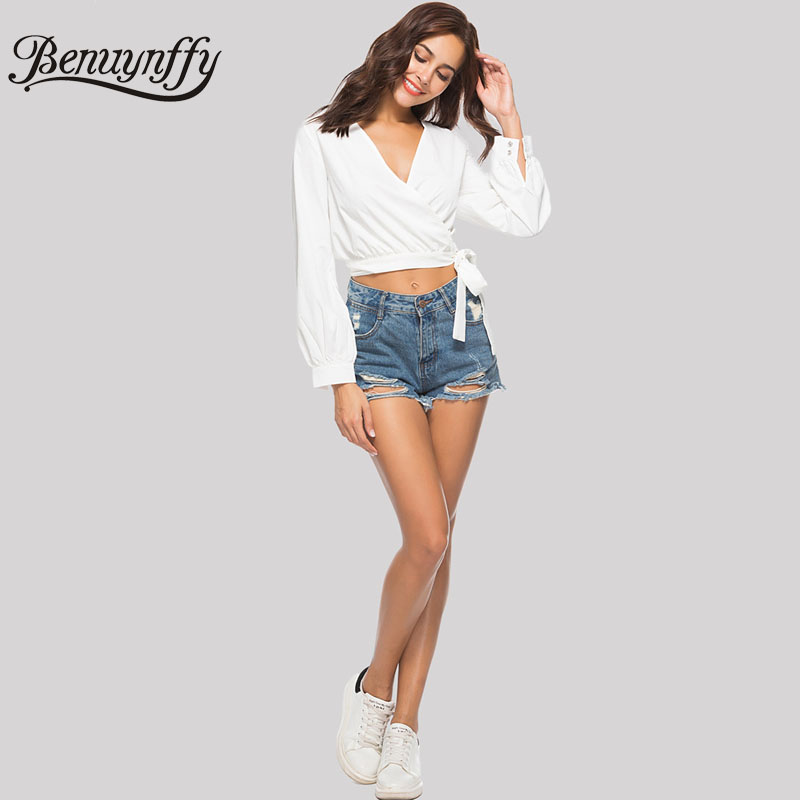 25c159641eb Benuynffy White V Neck Bow Tie Wrap Blouses Women Sexy Top 2018 Autumn New  Fashion Solid Crop Long Sleeve Elegant Blouse-in Blouses & Shirts from  Women's ...