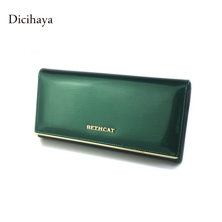 100% Genuine leather Cowhide Womens Wallets Patent Leather Long Ladies Wallets Clutch Design Purse Hand Bags Women Purses