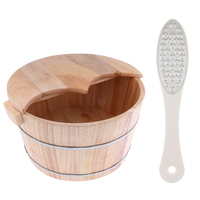 Cedar Wood Foot Spa Bath Basin Tub Feet Soaking Wash Bucket with Lid + Dual Side Foot File