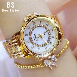 Image 4 - ダイヤモンド女性の高級ブランド腕時計 2019 ラインストーンエレガントな女性の腕時計ゴールド時計腕時計女性レロジオ feminino 2020