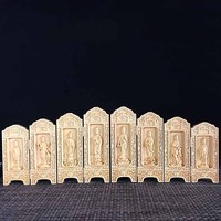 Wooden carved eight open box Buddha Guanyin wooden crafts home Feng Shui ornaments