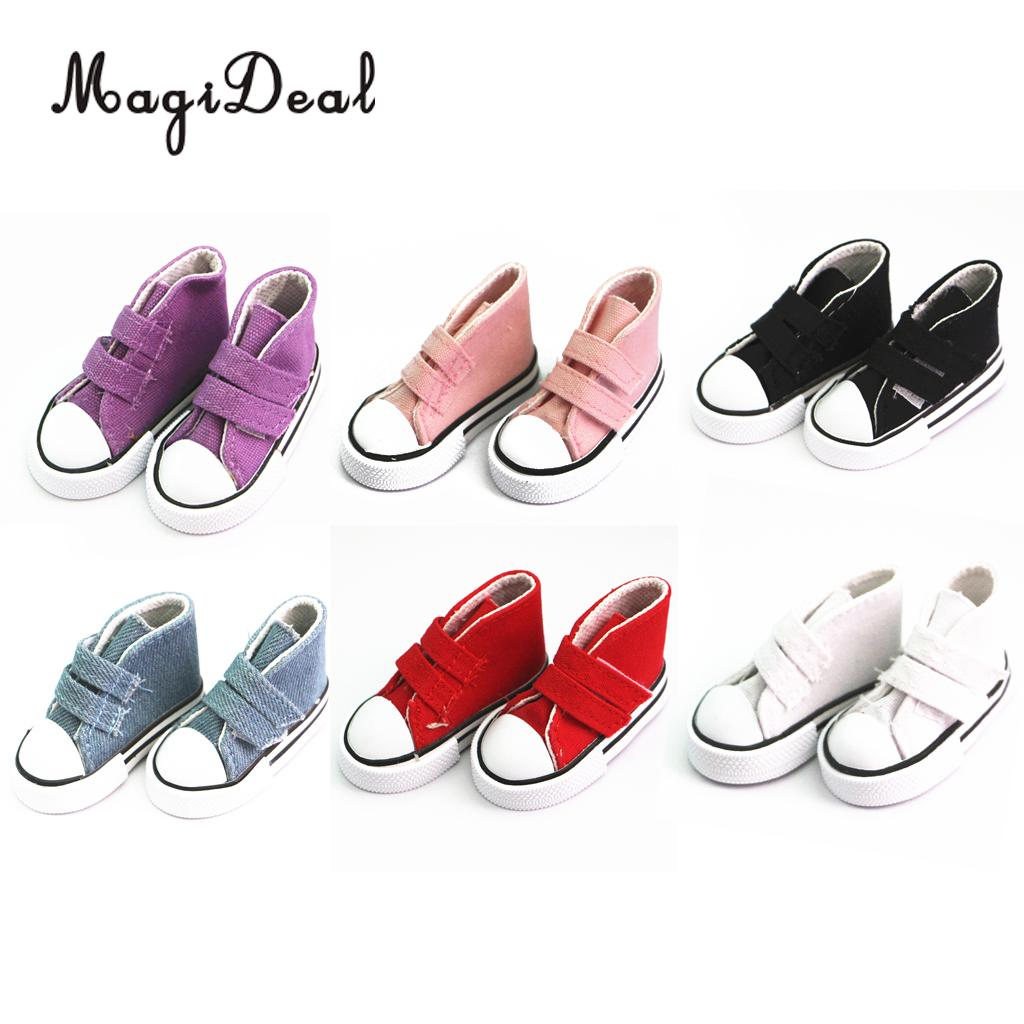 MagiDeal 6Colors 1Pair Sticky Strap High Top Canvas Flats Sneakers Shoes for 1/4 1/3 BJD ...