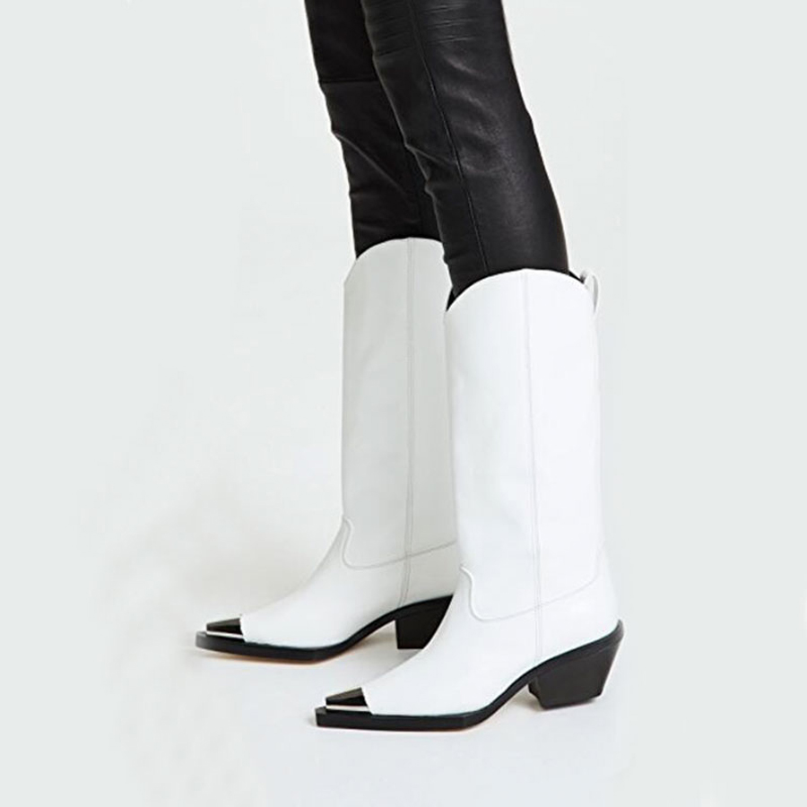 Prova Perfetto metal pointed toe genuine leather knee high boots women fashion chunky high heel knight boots females long boots-in Knee-High Boots from Shoes    2