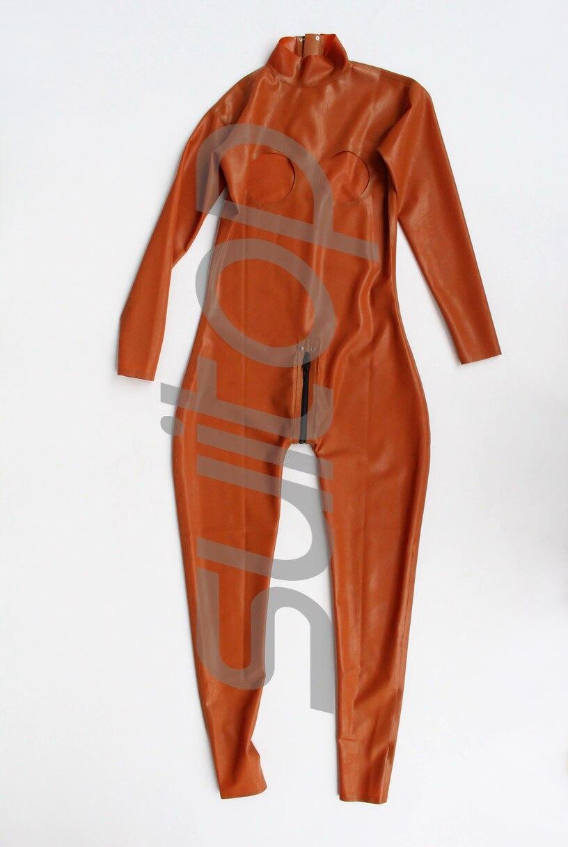 Suitop модный латексный комбинезон с свободной грудью сексуальные экзотические одежды Teddies в коричневом цвете