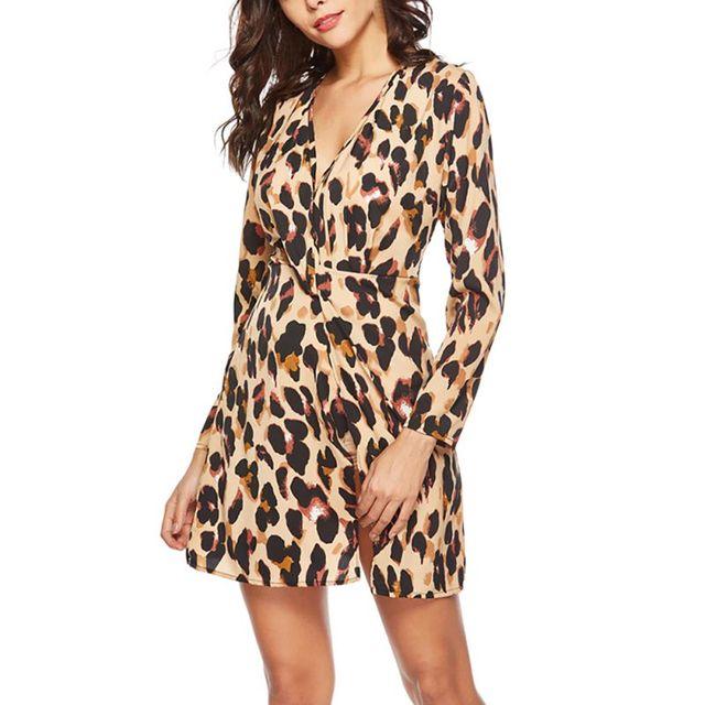 New Women Leopard Impresso Sexy Nó Vestidos de Chiffon Com Decote Em V Completo Manga Vestidos Outono Inverno
