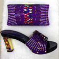 Wedding Sandal Shoes And Matching Bag With Stones High Quality African Pumps Italian Shoe And Bag Set Purple Color TT25