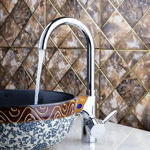 Single Handle Deck Mount Kitchen Torneira Digital Display Swivel 360 Chrome Brass 97127 Basin Sink Water