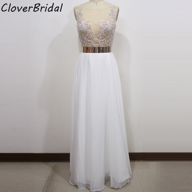 Shinning heavily beaded chiffon white modest sexy graduation dresses with gold metal waistband real photos