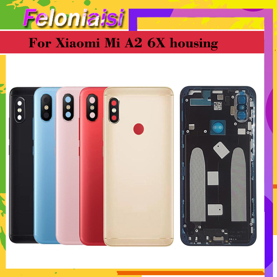 Original for <font><b>Xiaomi</b></font> <font><b>Mi</b></font> <font><b>A2</b></font> <font><b>MI</b></font> 6X <font><b>Battery</b></font> Back <font><b>Cover</b></font> Rear Housing Metal Door for <font><b>Xiaomi</b></font> <font><b>Mi</b></font> 6X Camera Glass Lens Repair Spare Parts image