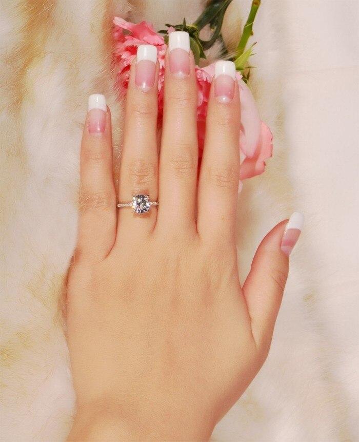 Классические Четыре зубец кольцо из белого золота обручальные кольца комплект 2 карат SONA обручальное кольцо с фианитами кольца для Для женщ... - 6