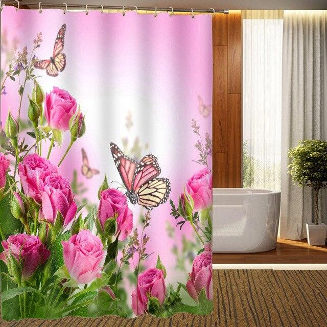 MYRU 3D Print Waterproof Flowers Shower Curtains Bath Products Bathroom  Decor With Hooks