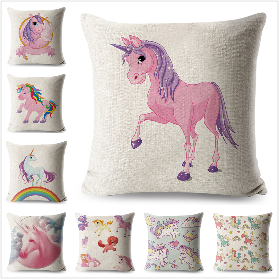 Unicorn Pillow Case Cartoon Animals Linen Cotton 45*45 cm Square Cushion Cover for Sofa Home Decorative Printed Throw Pillowcase