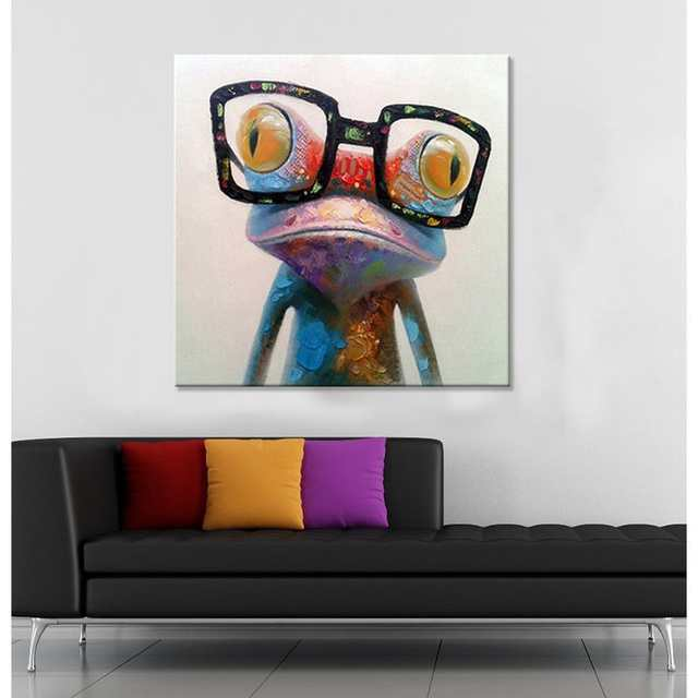 e0f88fd8866d placeholder Hand Painted Acrylic Canvas Oil Paintings Colorful Frog with  Big Glasses Funny Modern Abstract Animal Wall