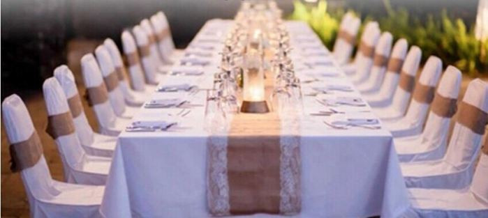 Burlap Lace Hessian Table Runner Jute Country rustic Wedding Party