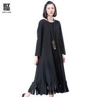 Outline Black Wool Dress Women Autumn Plus Size Patchwork Black Dresses Casual Loose Full Sleeve Tassel Dark Red Dress L164Y002