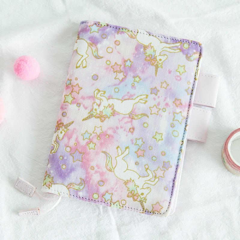 Unicorn Fashion Diary Notebook Printing Cotton Cover Notebook InnerPocket Travel Journal Diary A6 Notepad Kawaii Stationery Gift
