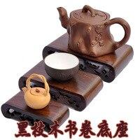 Azusa черный прямоугольный резьба по камню деревянное основание камень украшения чайник книги статуи стоят Прямая продажа с фабрики