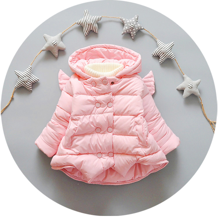 New Baby Girls Winter Coat 2016 Children Double Breasted Hooded Jacket Outerwear Kids Girls Warm Pink
