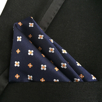 Lingyao Luxury Pocket Square High Quality Woven Handkerchief Navy Blue With Yellow White Floral Hanky To