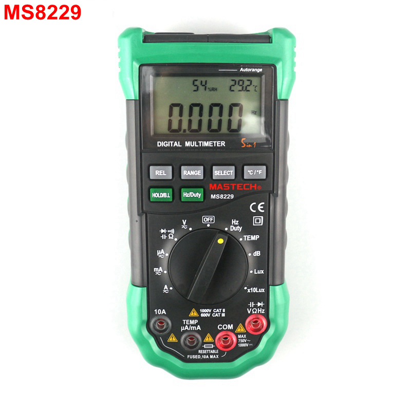 MASTECH MS8229 Electrical Multimeter Auto Manual Range Multi Function -20~400C Thermometer Humidity AC DC Voltmeter Ammeter цена и фото