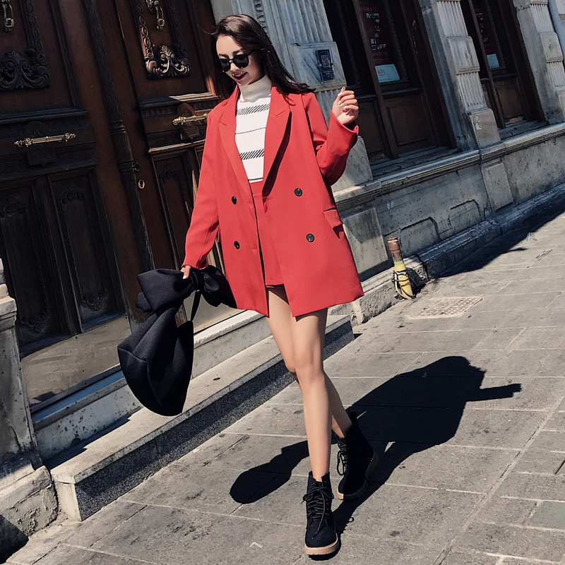 Suit female 2019 summer new women 39 s Korean version of the loose long sleeved small suit jacket casual skirt two piece in Pant Suits from Women 39 s Clothing