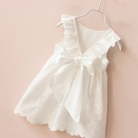 2017 Babies Clothing Bow Summer Korean Kids Cotton Vest Baby Girls Clothes 7 Years Backless Bowed