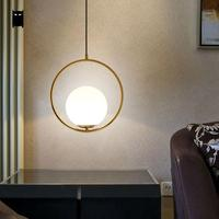 Rose Gold Ball Globe Sphere Pendant Light Fixture Modern Korean Nordic Hanging Lamp Fittings Decoration Dining Table Bed Room